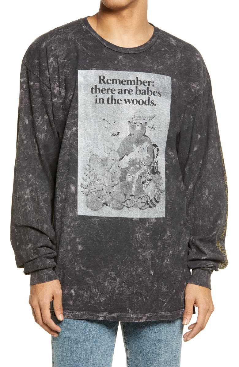 PHILCOS Smokey Bear Babes in the Woods Men's Long Sleeve Graphic Tee, Main, color, BLACK WASH