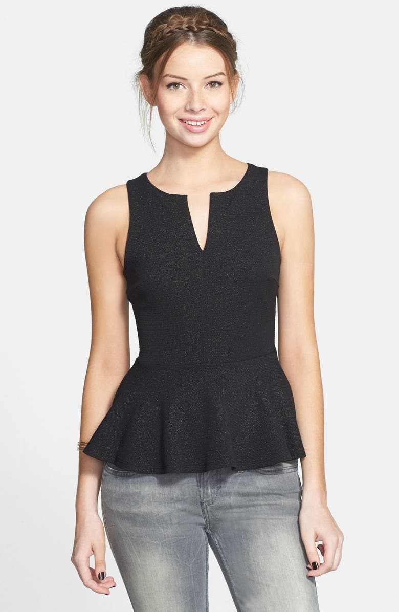 SOPRANO Quilted Peplum Tank, Main, color, 001