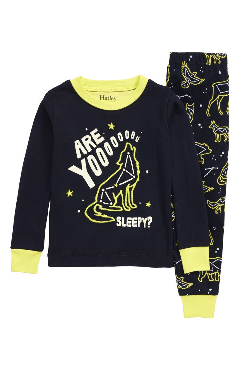 HATLEY Wild Constellations Glow in the Dark Fitted Organic Cotton Two-Piece Pajamas, Main, color, 400