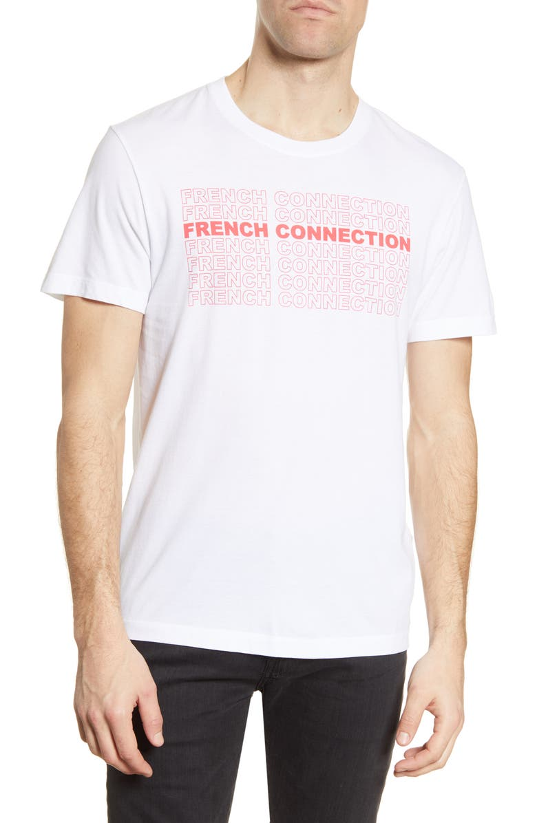 FRENCH CONNECTION Logo Repeat Graphic Tee, Main, color, White