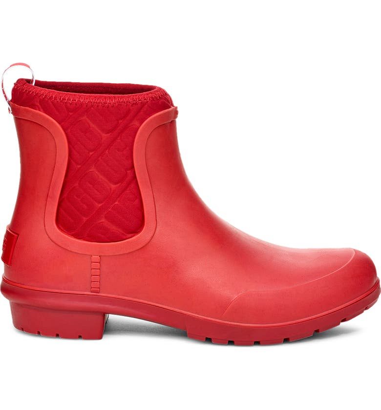 UGG<SUP>®</SUP> Chevonne Chelsea Waterproof Rain Boot, Main, color, RED RIBBON RUBBER