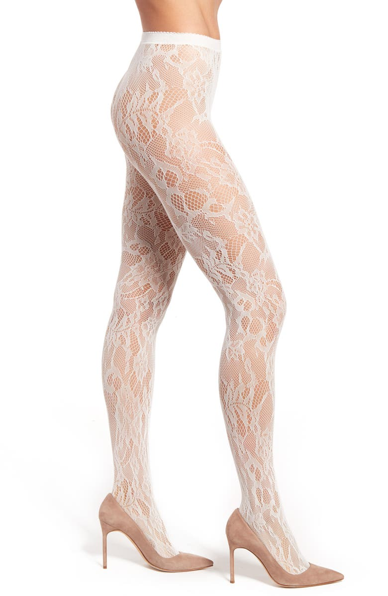 NATORI Lace Cutout Tights, Main, color, IVORY