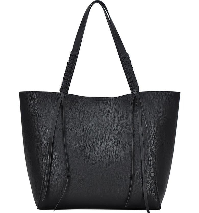 ANTIK KRAFT Knotted Strap Faux Leather Tote, Main, color, Black