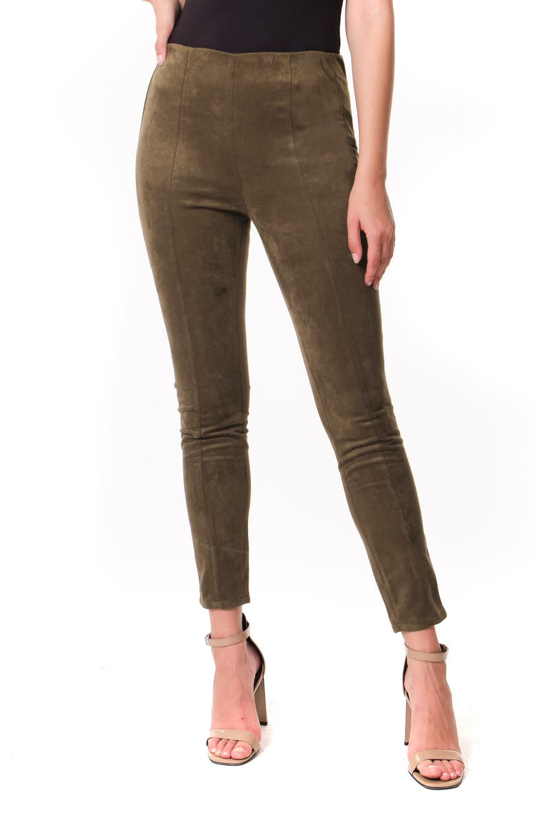 BLANKNYC Faux Suede Leggings, Main, color, INTO THE FOREST