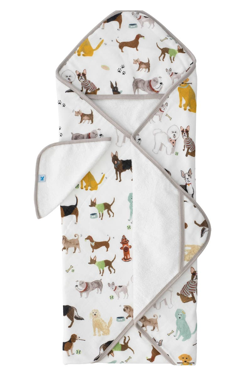 LITTLE UNICORN Hooded Towel and Washcloth Set, Main, color, WOOF