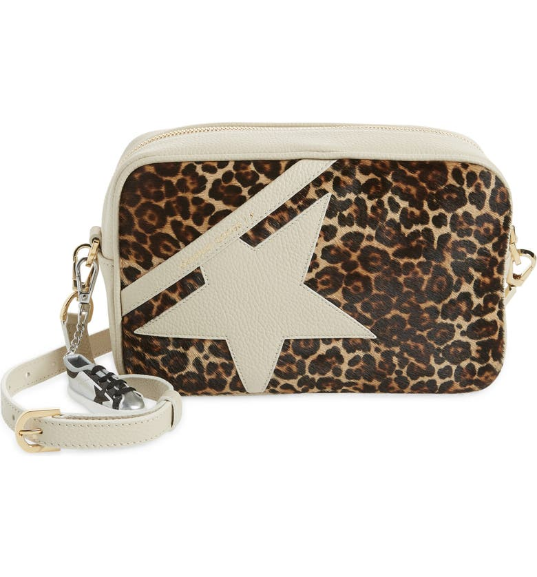GOLDEN GOOSE Star Metallic Leather Camera Bag, Main, color, IVORY/ BROWN