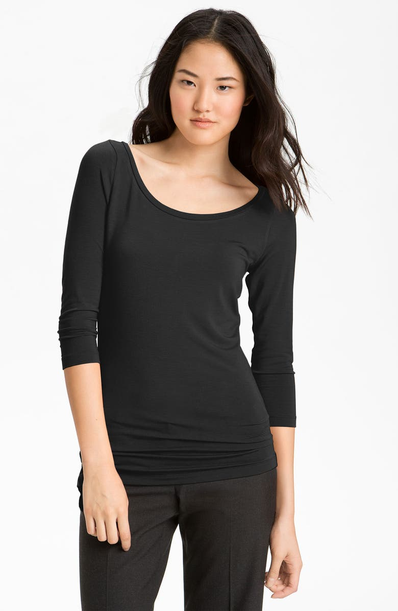 HALOGEN<SUP>®</SUP> Ballet Neck Stretch Modal Tee, Main, color, 001