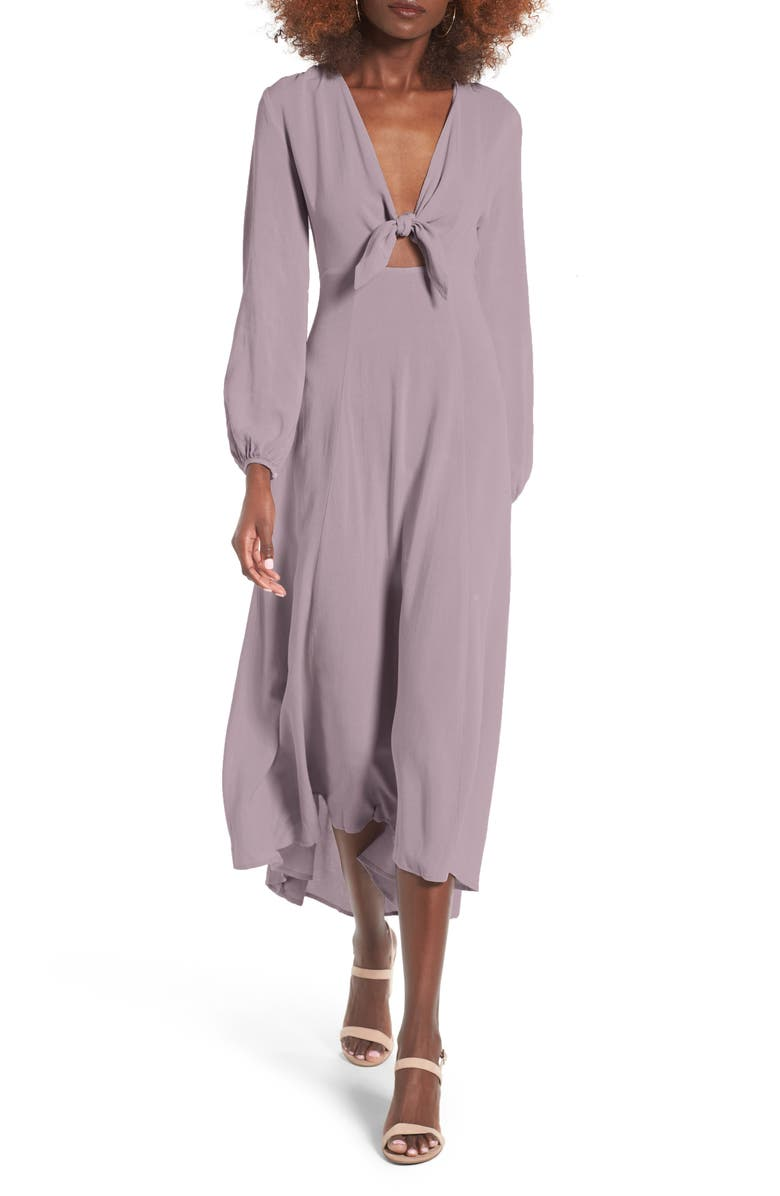 ALL IN FAVOR Front Tie Maxi Dress, Main, color, LILAC