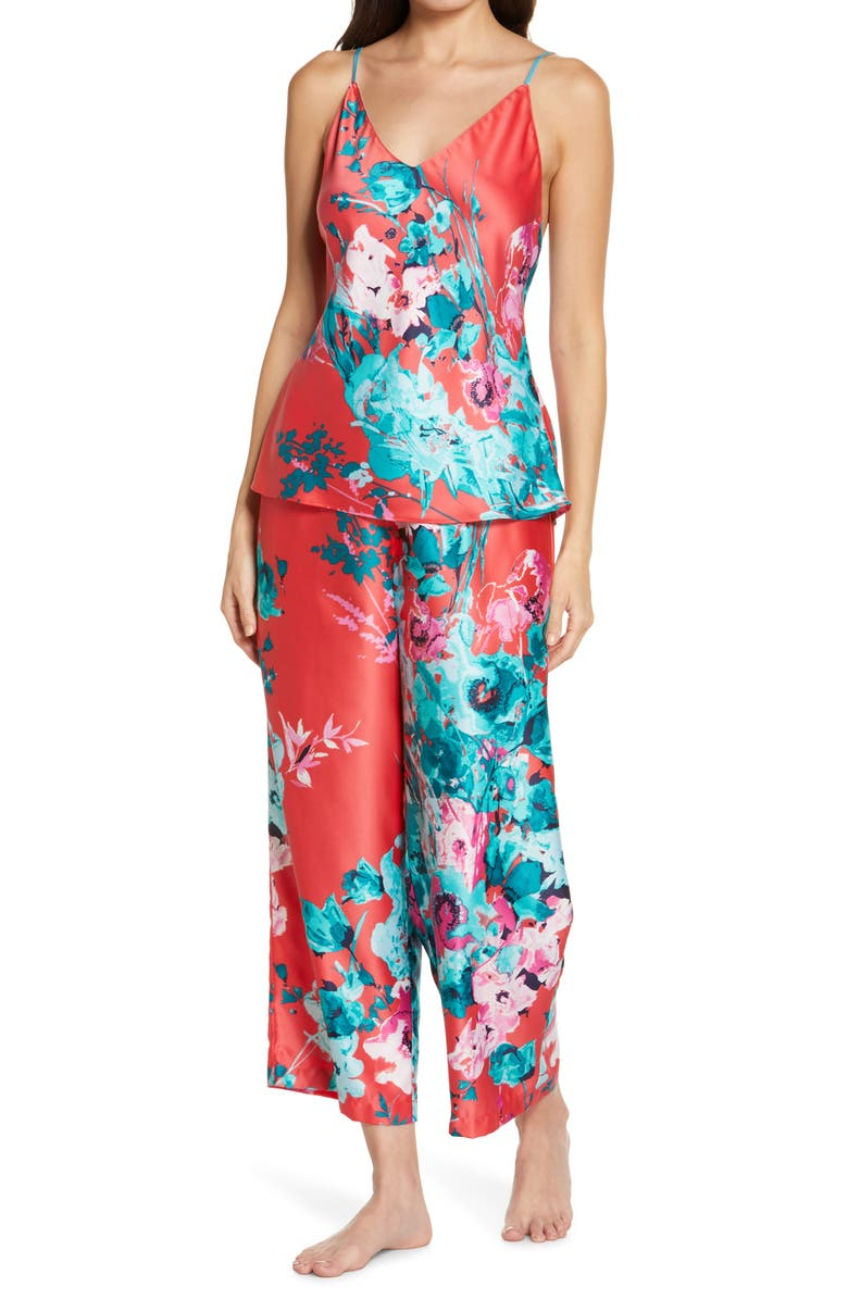 NATORI Bloom Floral Satin Camisole Pajamas, Main, color, PASSION CORAL MULTI