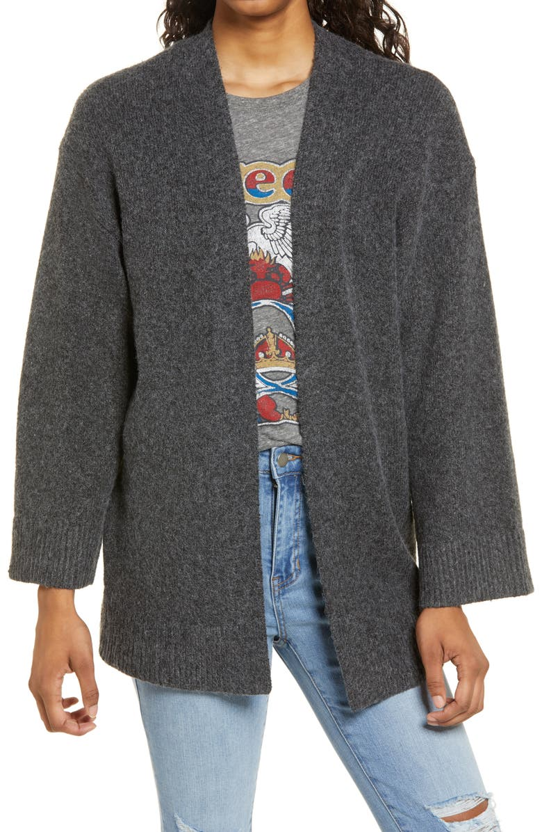 BP. Open Front Cardigan, Main, color, GREY MEDIUM CHARCOAL HEATHER