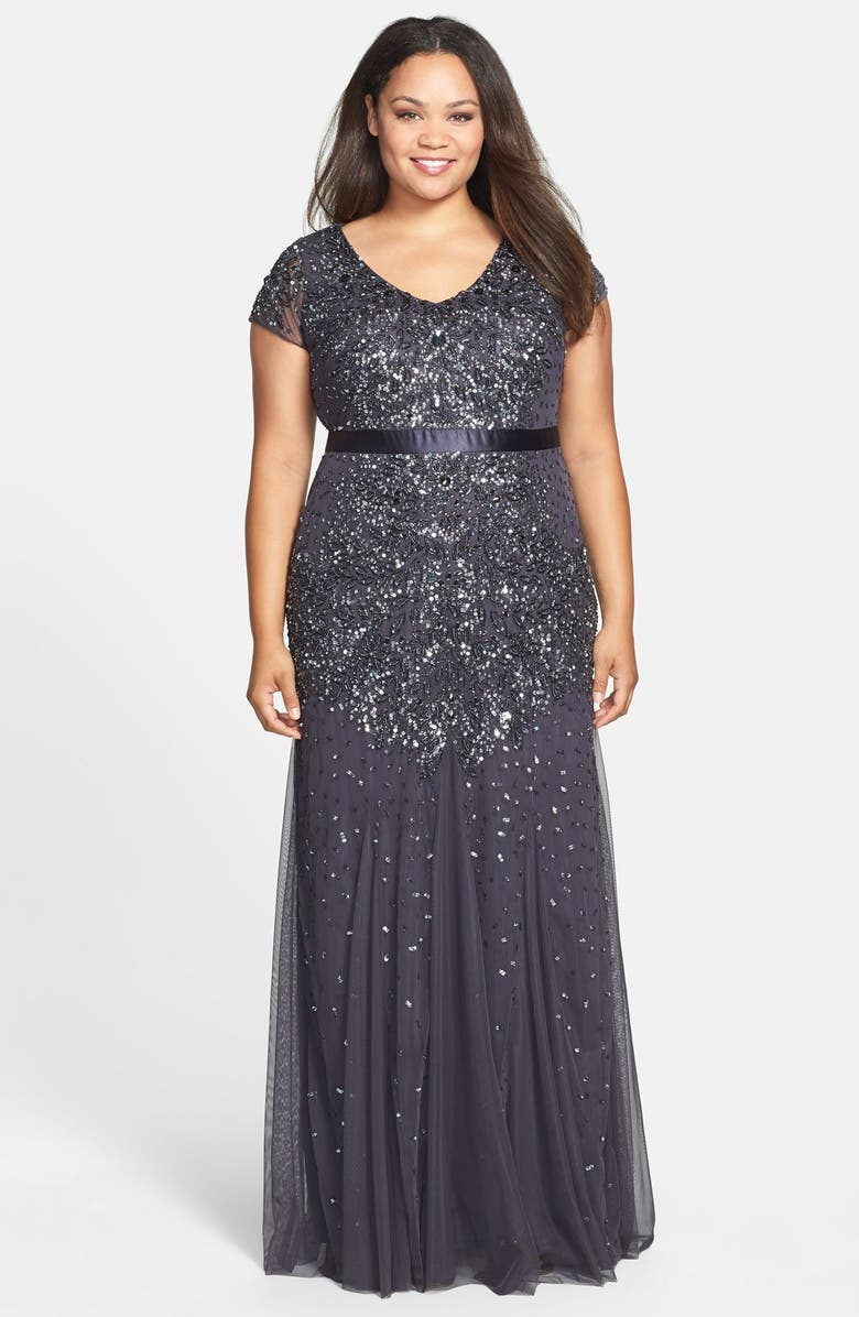 ADRIANNA PAPELL Beaded V-Neck Gown, Main, color, 032