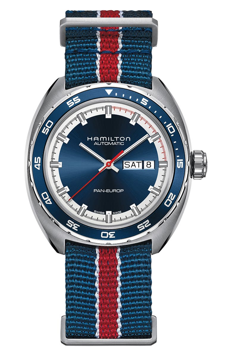HAMILTON American Classic Pan Europ Automatic Leather Strap Watch; 42mm, Main, color, 001