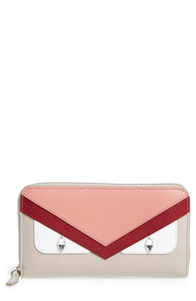 FENDI 'Monster' Leather Zip Around Wallet, Main, color, POWDER/RIBES