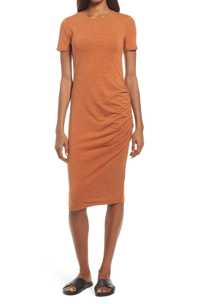 TREASURE & BOND Side Ruched Body-Con Dress, Main, color, RUST LEATHER HEATHER