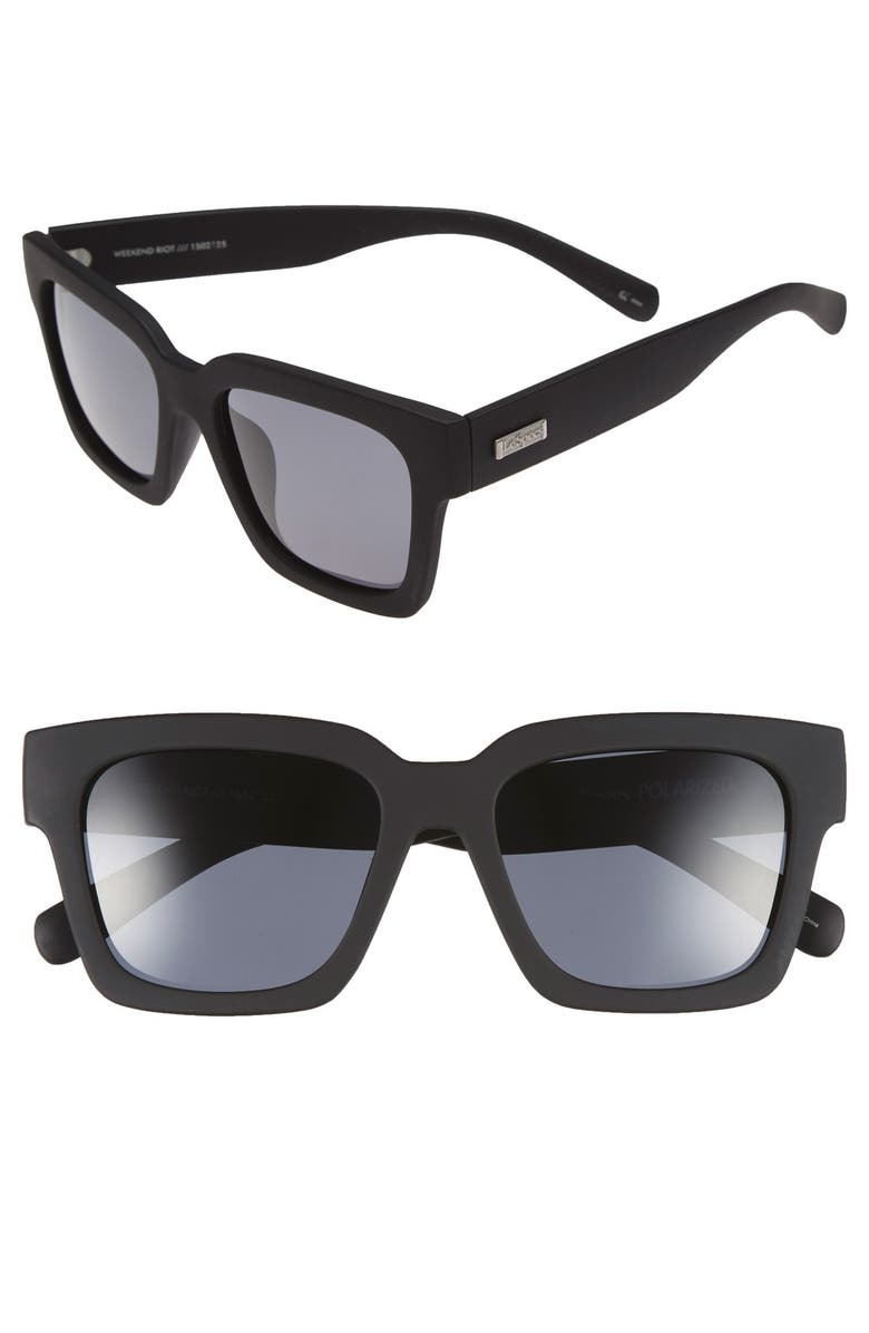LE SPECS 'Weekend Riot' 55mm Sunglasses, Main, color, BLACK RUBBER/ SMOKE MONO POLAR