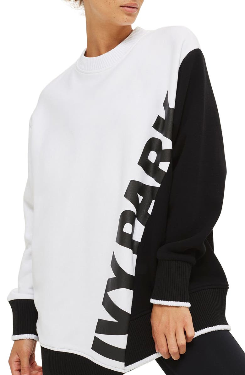 IVY PARK<SUP>®</SUP> Asymmetrical Logo Sweatshirt, Main, color, 100