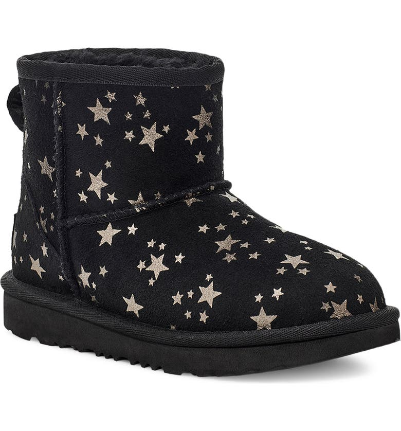 UGG<SUP>®</SUP> Kids' Classic Mini II Star Boot, Main, color, BLACK