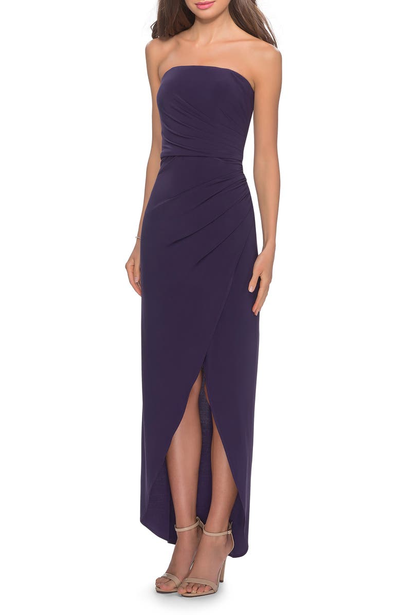 LA FEMME Strapless Ruched Soft Jersey Gown, Main, color, Dark Purple