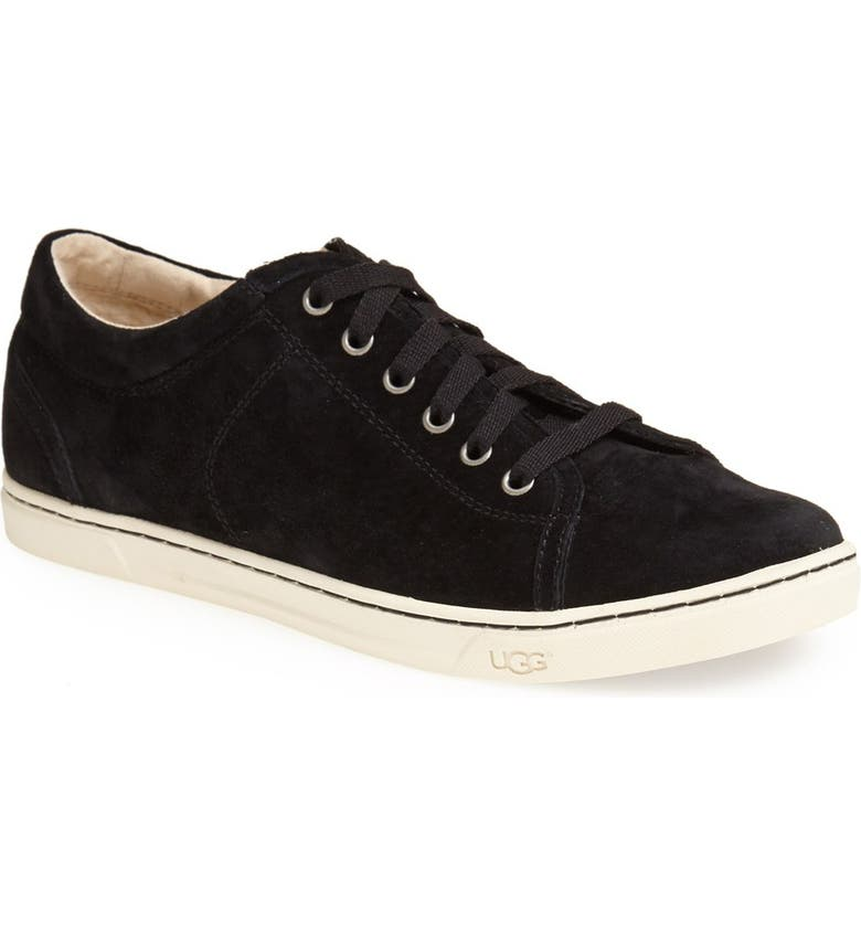 UGG<SUP>®</SUP> 'Tomi' Water Resistant Suede Sneaker, Main, color, BLACK