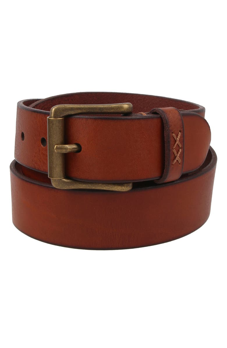 FRYE Flat Panel Leather Belt, Main, color, COGNAC