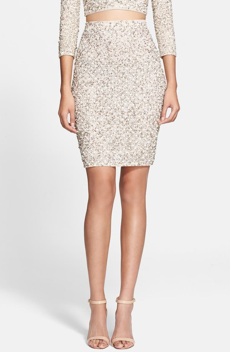 ALICE + OLIVIA 'Ramos' Embellished Skirt, Main, color, 101