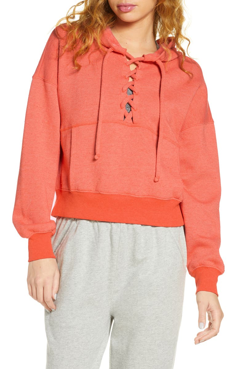 FREE PEOPLE FP MOVEMENT Believe It Lace-Up Hoodie, Main, color, CORAL