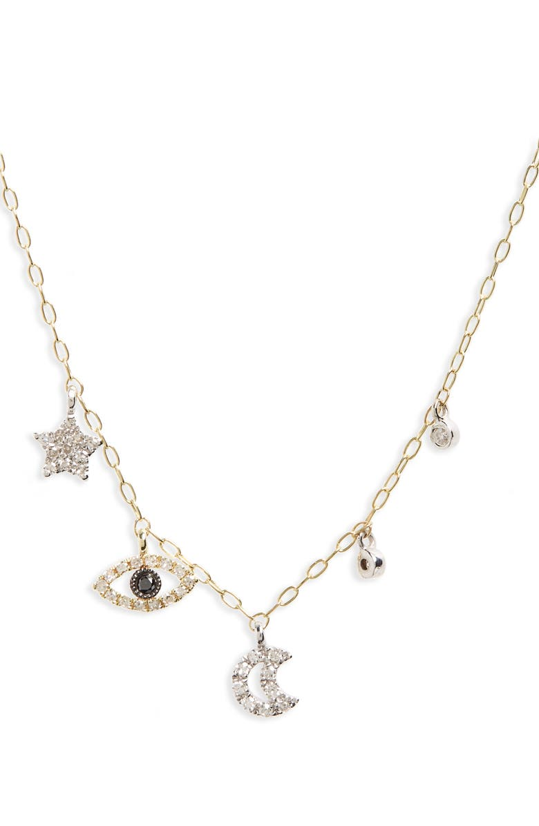 MEIRA T Diamond Charm Necklace, Main, color, YELLOW GOLD