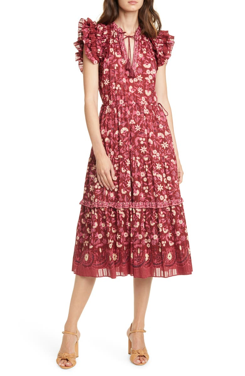 ULLA JOHNSON Linnea Floral Midi Dress, Main, color, 930