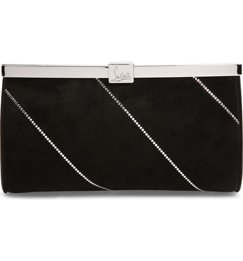 CHRISTIAN LOUBOUTIN Small Palmette Embellished Clutch, Main, color, 001