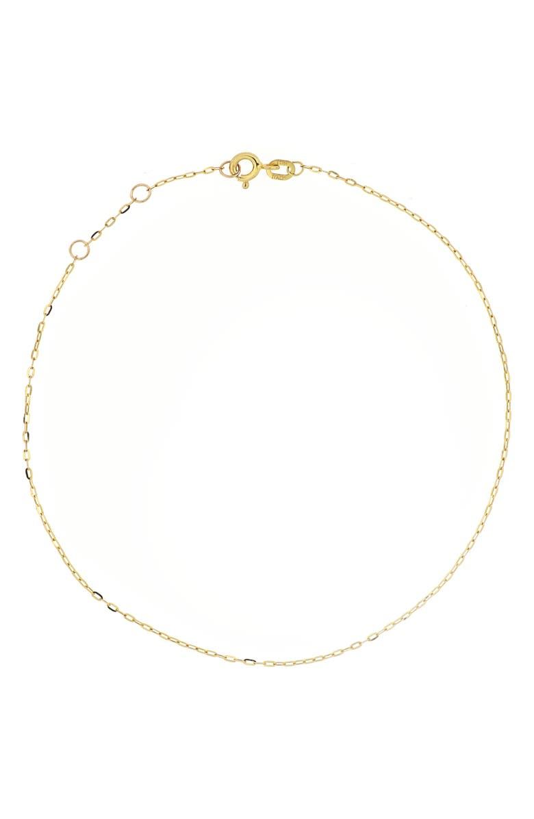 BONY LEVY Mini Chain Link Anklet, Main, color, YELLOW GOLD