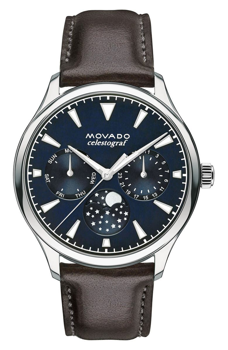 MOVADO Heritage Multifunction Leather Strap Watch, 36mm, Main, color, 200