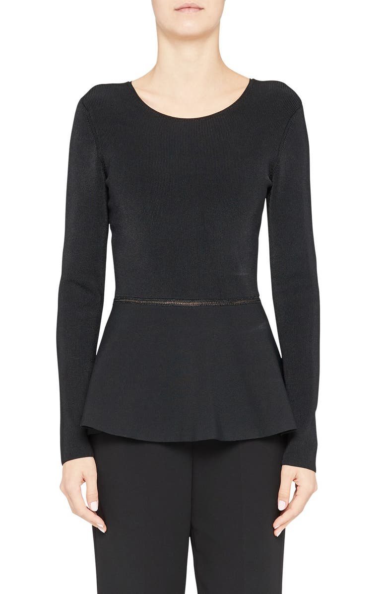 THEORY Compact Crepe Peplum Pullover, Main, color, 001