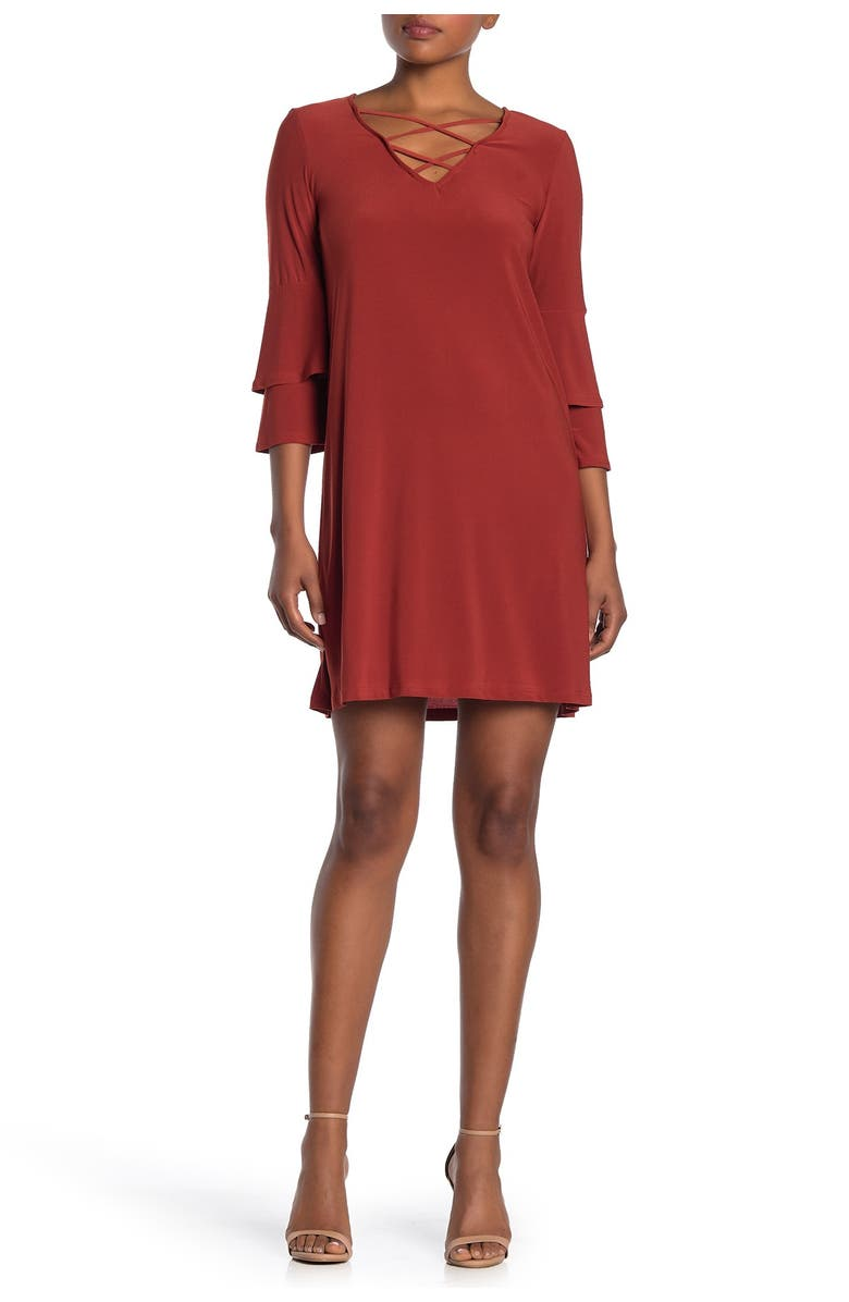 TASH AND SOPHIE Flounced Jersey Dress, Main, color, RUST