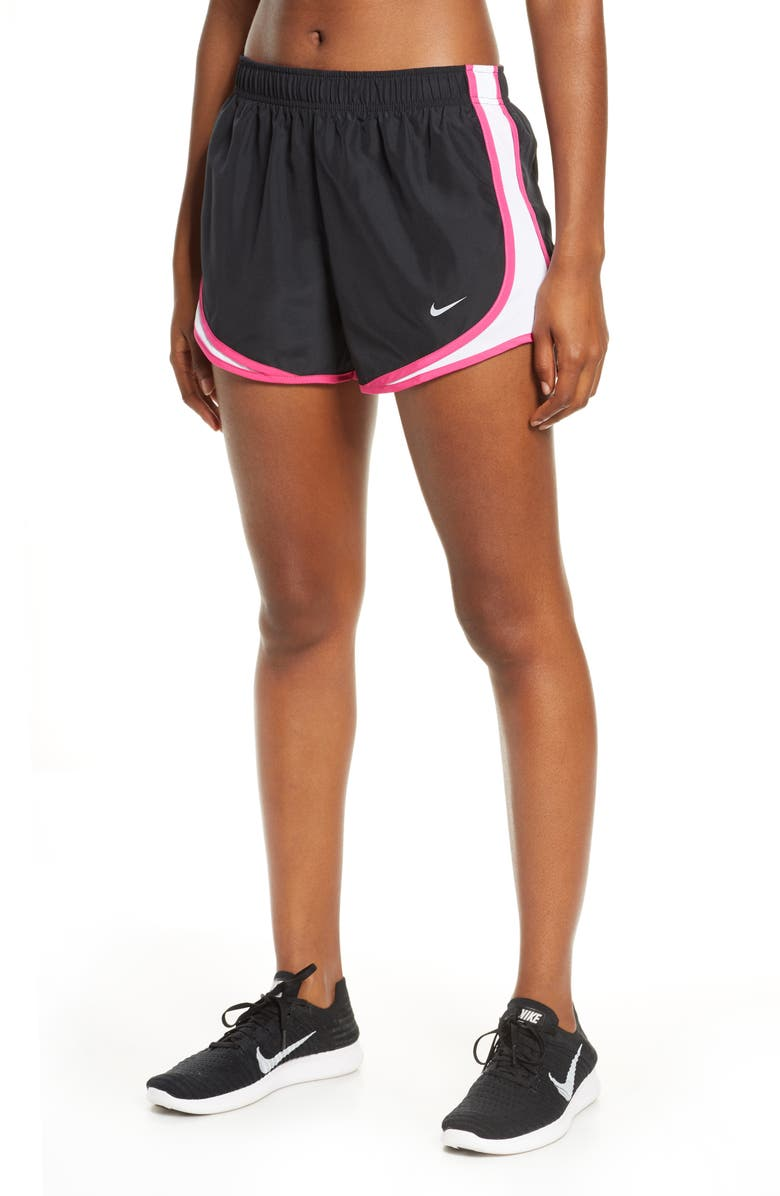 NIKE Dri-FIT Tempo Running Shorts, Main, color, BLACK/ WHITE/ PINK/ WOLF GREY