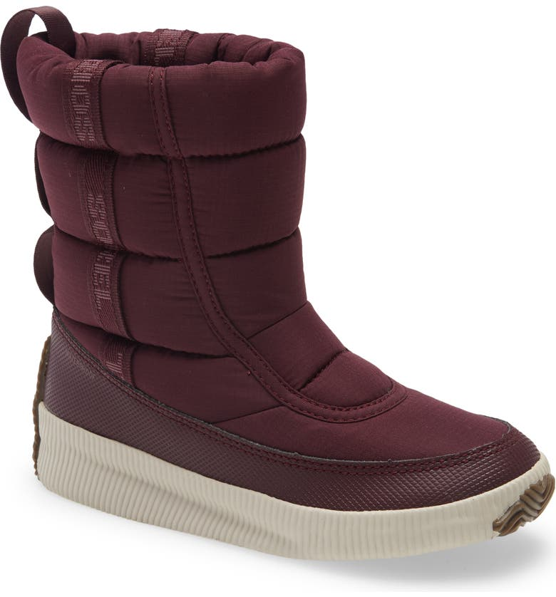 SOREL Out 'N About Puffy Waterproof Snow Boot, Main, color, EPIC PLUM