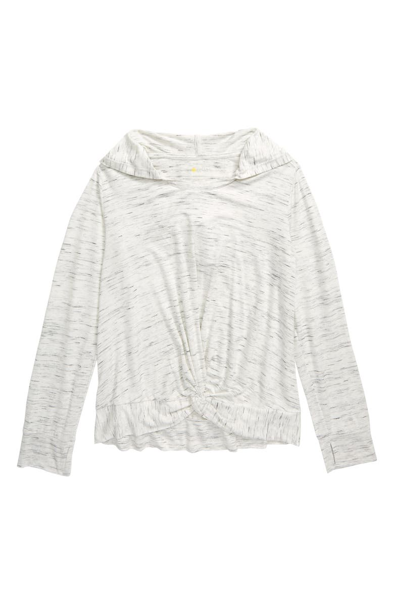 ZELLA GIRL Twist Front Hoodie, Main, color, WHITE HEATHER