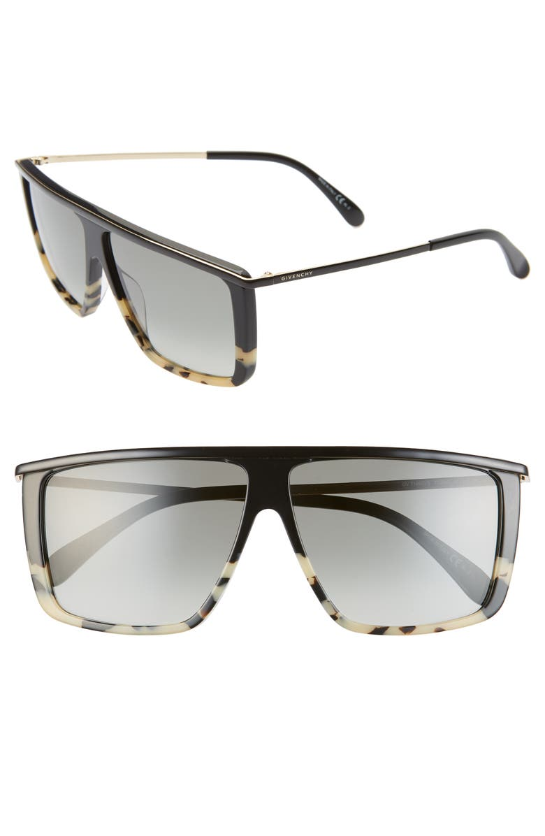 GIVENCHY 62mm Oversize Flat Top Sunglasses, Main, color, 002