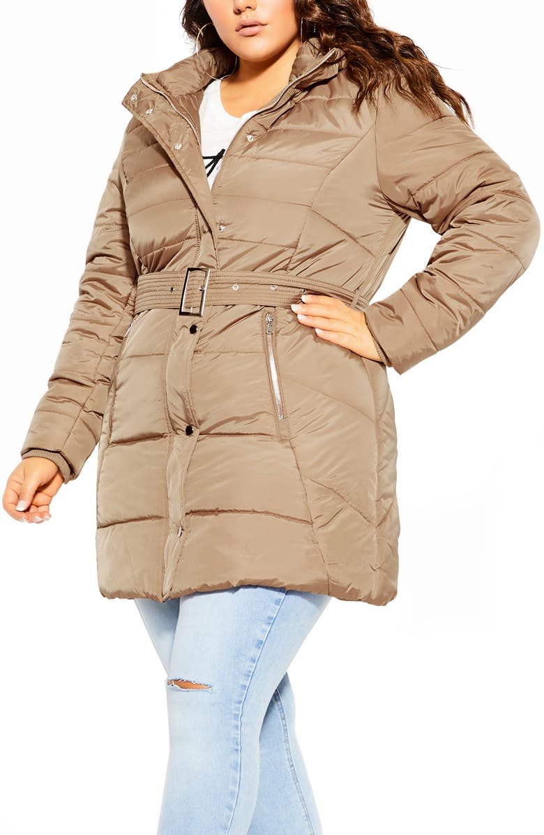 CITY CHIC Puffa Removable Faux Fur Trim Hooded Coat, Main, color, TAUPE