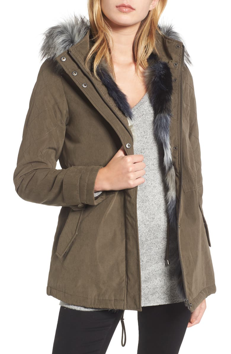 MARALYN & ME Quilted Sleeve Anorak with Faux Fur Trim, Main, color, OLIVE