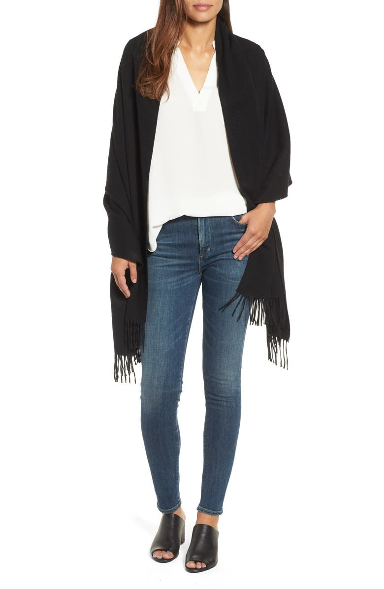 NORDSTROM COLLECTION Oversize Cashmere Wrap, Main, color, 001