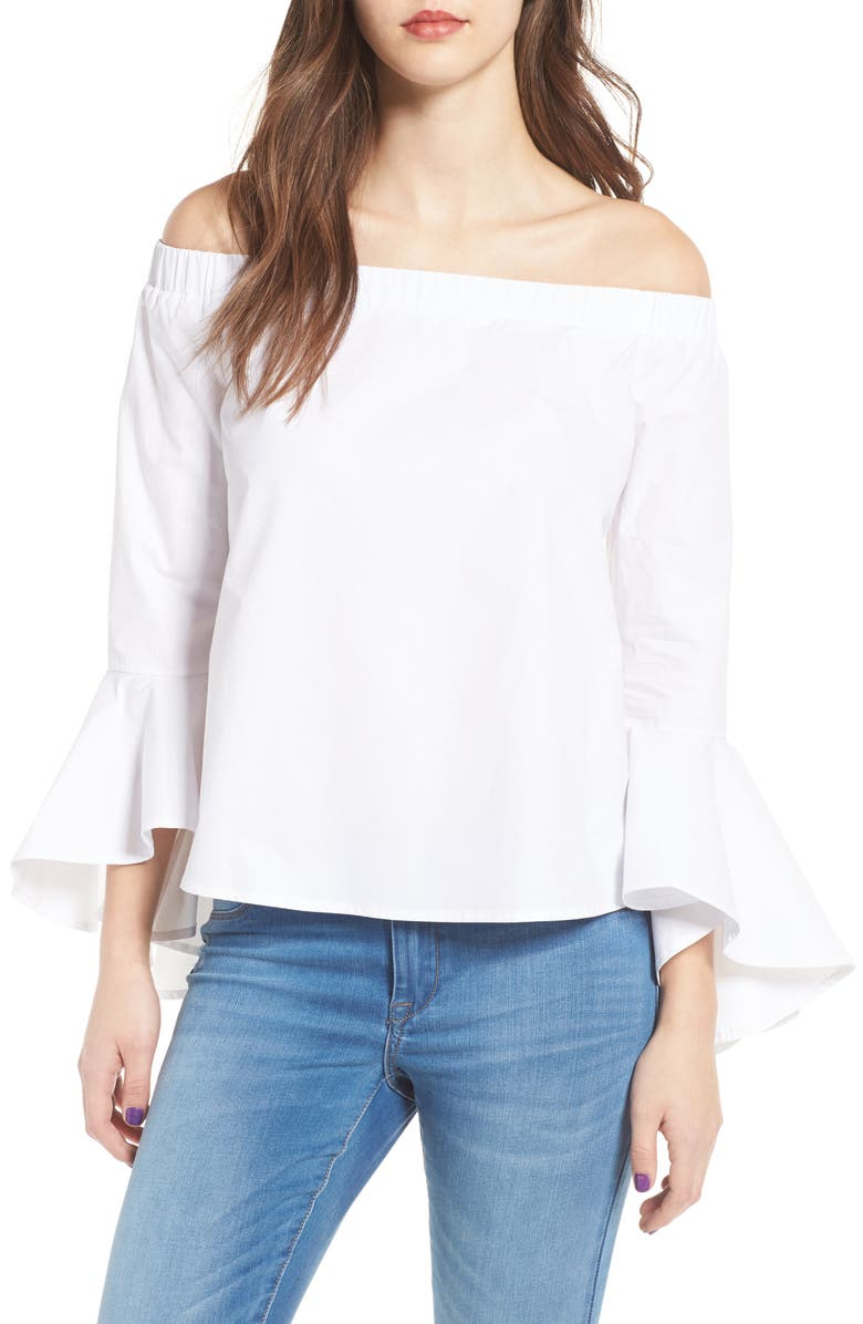 SOPRANO Bell Sleeve Off the Shoulder Blouse, Main, color, 100