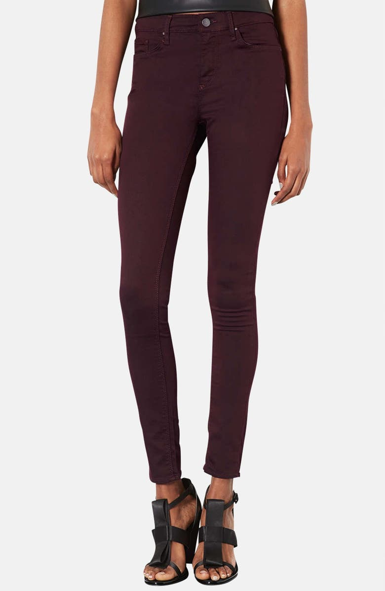 TOPSHOP Moto 'Leigh' Aubergine Skinny Jeans, Main, color, 930