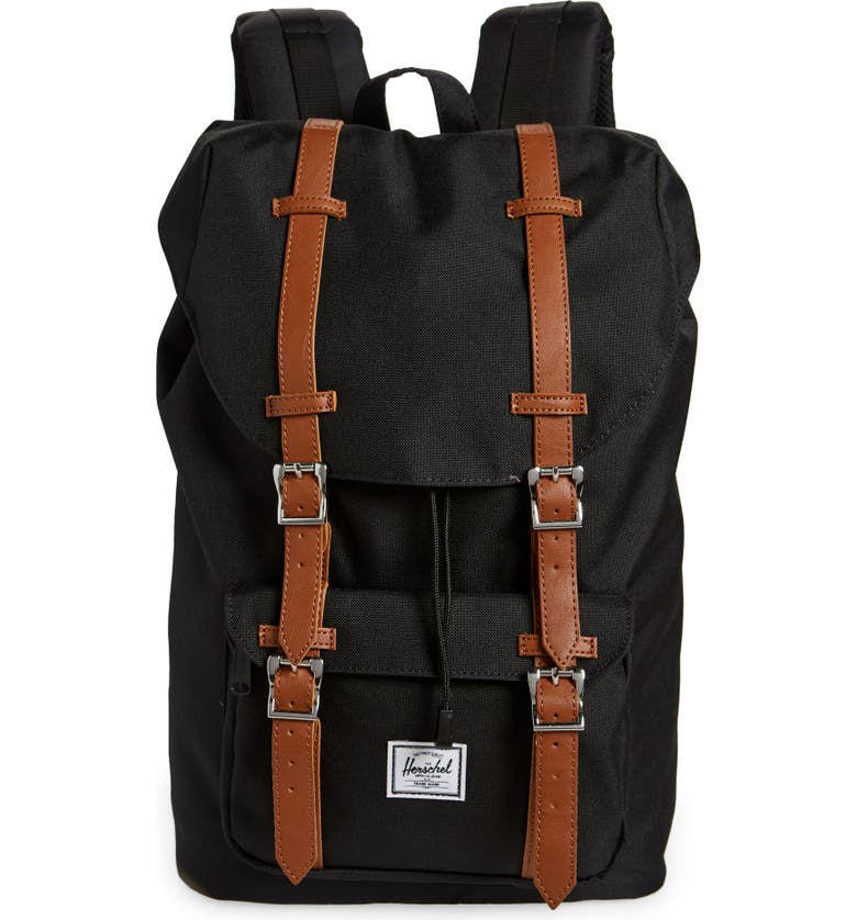 HERSCHEL SUPPLY CO. Little America - Mid Volume Backpack, Main, color, Black/Tan Synthetic