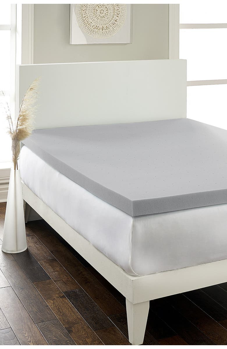 """RIO HOME Hotel Laundry(R) Hypoallergenic Charcoal 2.5"""" Memory Foam King Mattress Topper, Main, color, GRAY"""