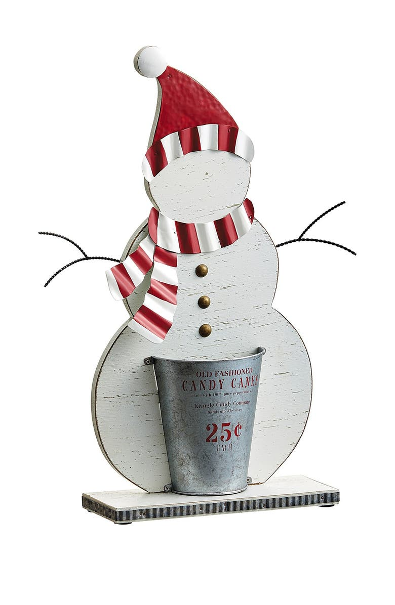 """ALLSTATE 15.25"""" Snowman with Santa Hat Table Top, Main, color, WHITE RED"""
