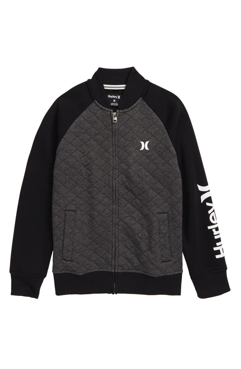 HURLEY Quilted Fleece Varsity Jacket, Main, color, 008
