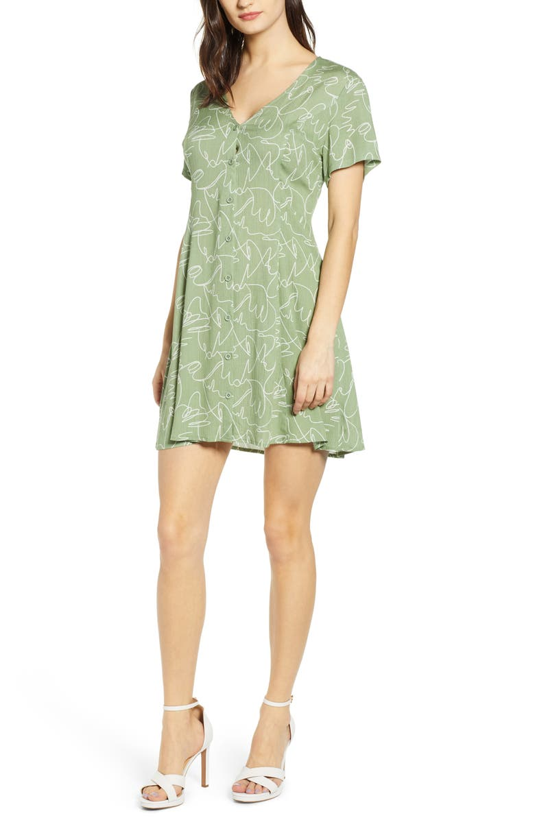 ALL IN FAVOR Button Up Tie Back Minidress, Main, color, 399