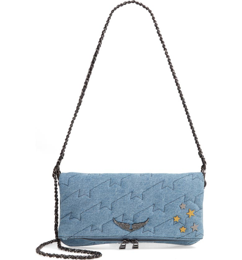 ZADIG & VOLTAIRE Small Rocky Quilted Denim Shoulder Bag, Main, color, JEANS