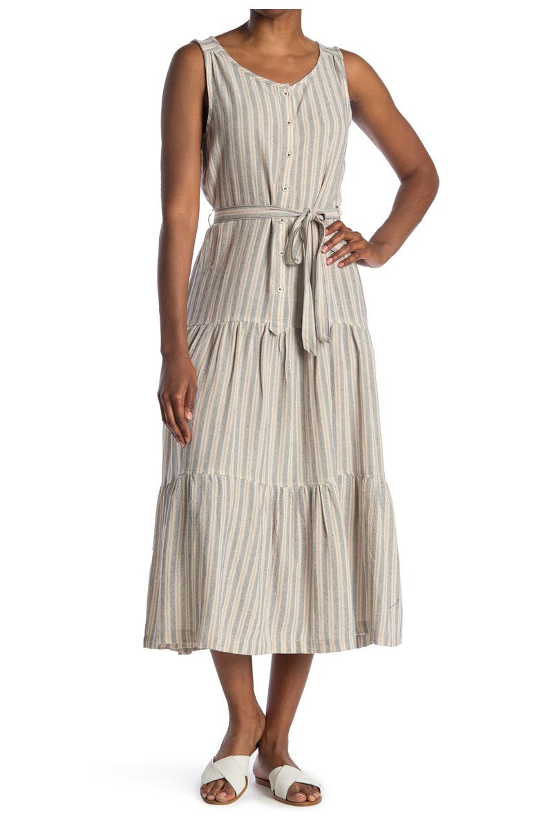 MAX STUDIO Sleeveless Self Tie Button Front Dress, Main, color, BK/PK/GY