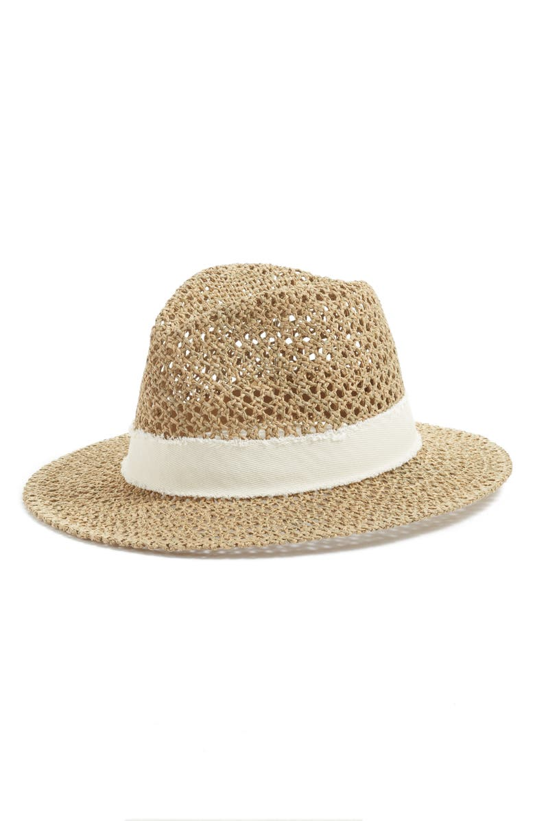 TREASURE & BOND Open Weave Panama Hat, Main, color, NATURAL COMBO